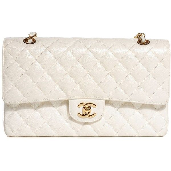 CHANEL Caviar Quilted Medium Double Flap White ❤ liked on Polyvore featuring bags, handbags, shoulder strap bag, genuine leather handbags, quilted shoulder bag, white leather handbags and chanel purses