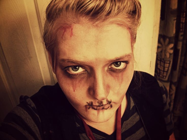 Halloween makeup idea. Not sure what to call it, but it is a more scary idea.