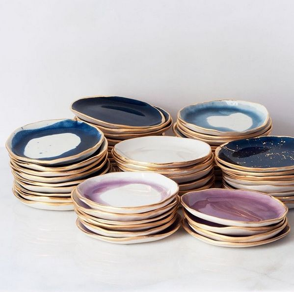 Blue, white, and purple handmade ceramic plates with gold edges by Suite One Studio. | theprettycrusades.com