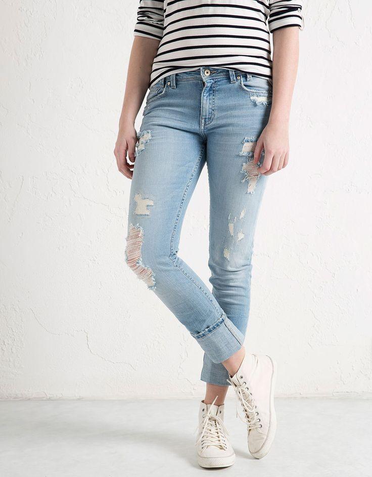 BSK turn-up hem skinny jeans - Denim - Bershka United Kingdom