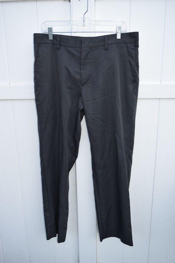 dcc4450f12 Van Heusen Dress Pants Sz 34 X 30 Black Flat Front Hook Zipper Pockets  Career  VanHeusen  DressFlatFront