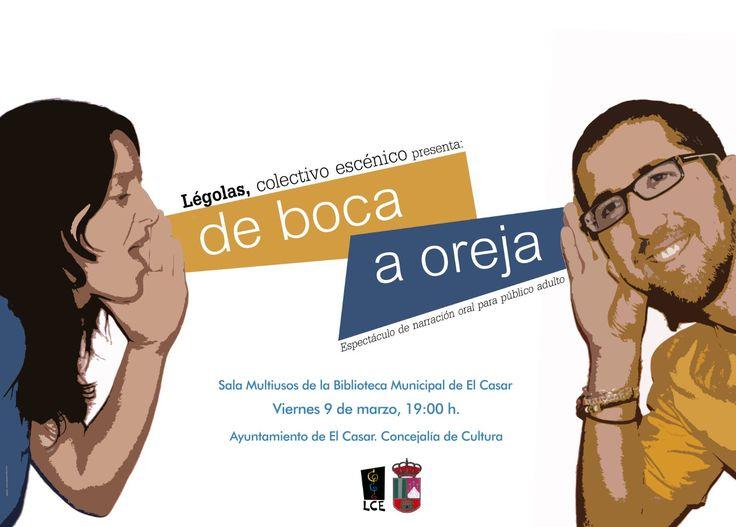 Sala Multiusos de la Biblioteca de El Casar. Espectáculo de narración oral. Miércoles, 9 de marzo, 19:00 Horas...