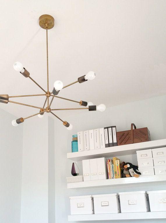 Customizable Napoleon Chandelier - sputnik inspired lighting - brass chandelier