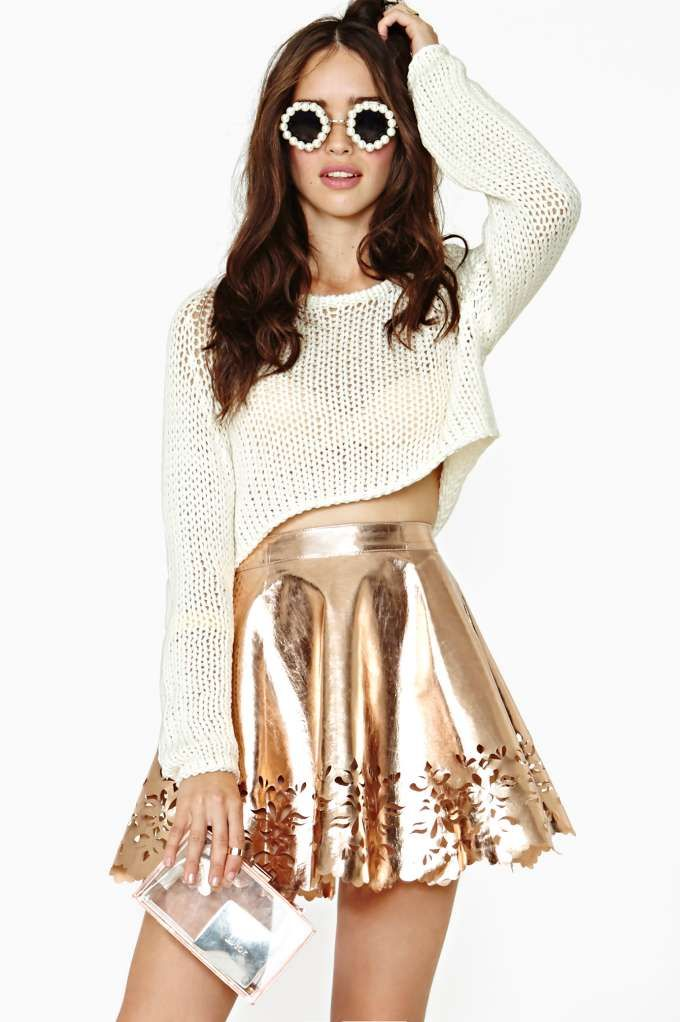 Reverse Metal Petal Faux Leather Skater Skirt