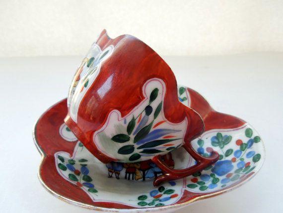 Quadrilobe tasse soucoupe Motif asiatique fleurs par Passion4Europe