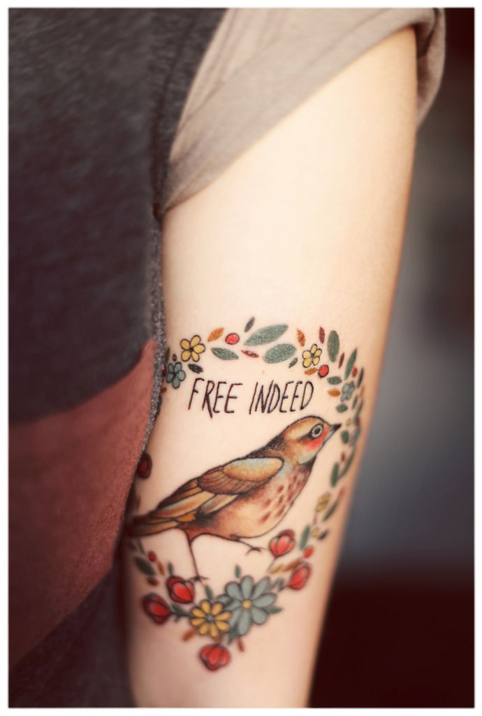 Free Indeed birds & flowers tattoo