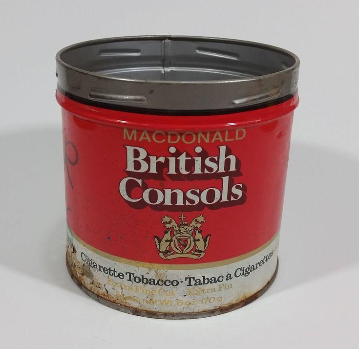 Vintage Macdonald British Consols Extra Fine Cut Cigarette Tobacco Red and White Tin No Lid https://treasurevalleyantiques.com/products/vintage-macdonald-british-consols-extra-fine-cut-cigarette-tobacco-red-and-white-tin-no-lid #Vintage #Macdonald #British #Consols #ExtraFineCut #Cigarette #Tobacco #Tobacciana #Smoking #ManCave #Garage #Collectibles #Tins #VintageTins