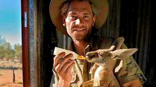 Animal rescuer Chris ''Brolga'' Barnes, aka Kangaroo Dundee