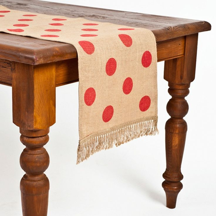 Ecoaccents red dot burlap table runner pure home for Diy valentine table runner