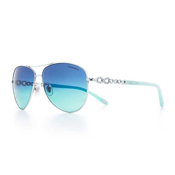 Tiffany Infinity aviator sunglasses in silver-colored metal and acetate.   Tiffany & Co.