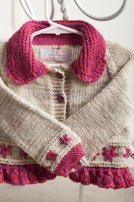 Embroidered Daisy Cardigan - Knitting Patterns by Jenny Snedeker