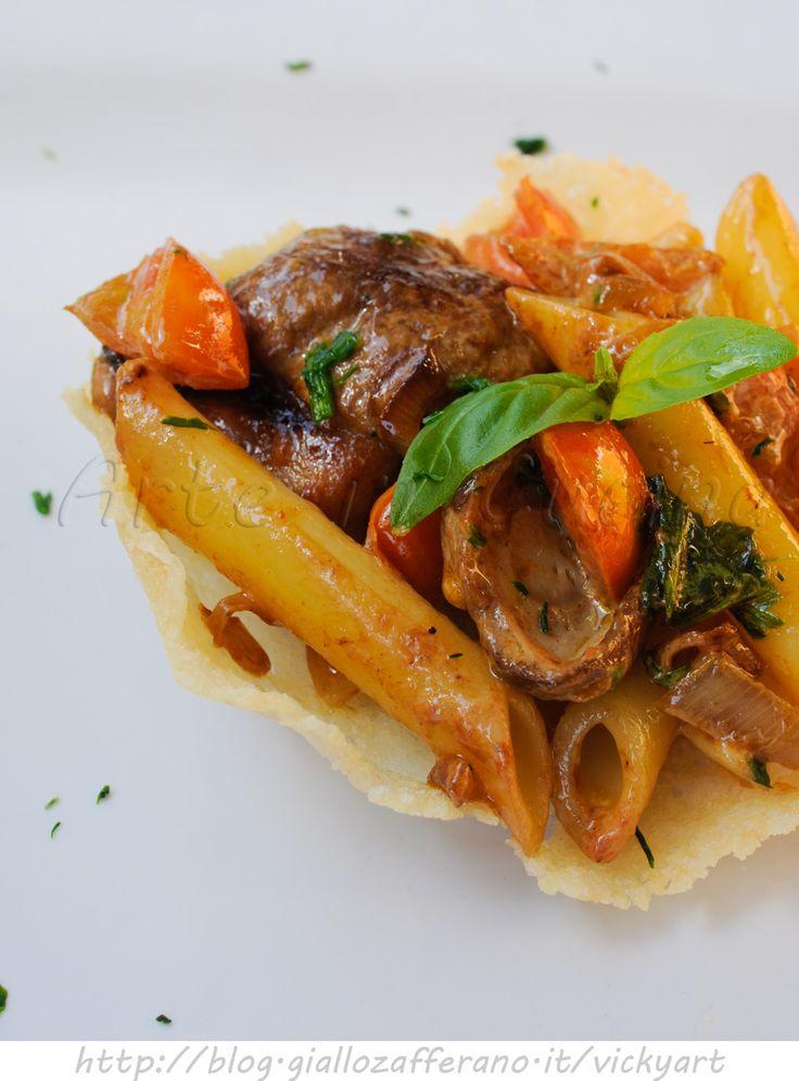Penne ai porcini in crosta di parmigiano vickyart arte in cucina