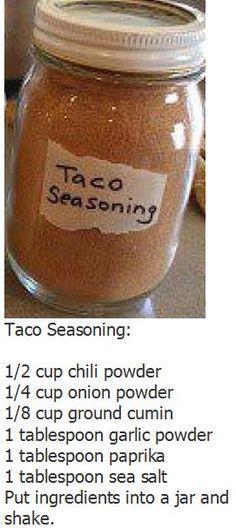 Here's what I actually use for mine: Taco Mix 1/3 c. minced onion 2 T. Dried minced garlic 1/4 c. chili powder 1 T. Cumin 1 T. coriander 1 T. paprika 4 t. sugar 3 t. salt 1/8 t. pepper 1/4 t.…