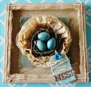 """I turned a 12""""x12"""" stretched burlap around to the backside to make a shadow box look.  Then I used coffee filters to make the nest. {Canvas Corp products}: Redberrybarn, Redberry Barn, Idea, Birds Nests, Coffee Filter, Burlap Framed, Children, Baby, Framed Nest"""