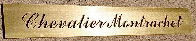 Plaque découpée laiton - chevalier montrachet www.sermab.fr