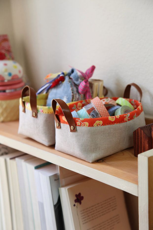 How-To: Fabric Storage Bins with Handles #sewing #storage #organization #bins