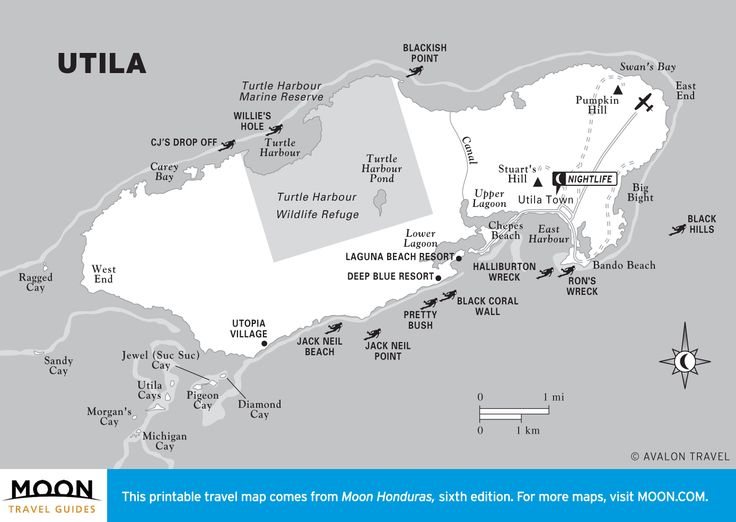 Travel map of Utila, Honduras