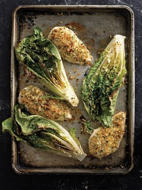 Parmesan Chicken with Caesar Roasted Romaine... looks simple and delicious!