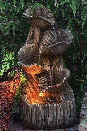 Springbrunnen Madera Mit LED Beleuchtung Gartenbrunnen Wandbrunnen Kaskade  Kaufen Bei Hood.de
