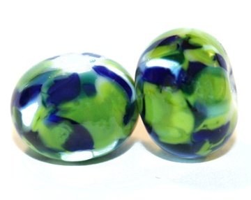 <3 NEW!! Afternoon Golf - Round Glass Bead Pair