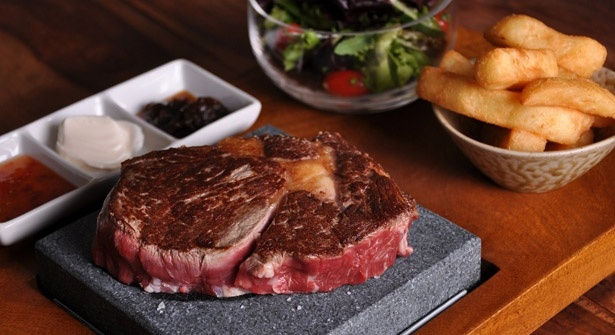 Don't these steaks look delicious? Tuck into exotic meats served on searing hot volcanic stone platters at Steakhouse, Watford
