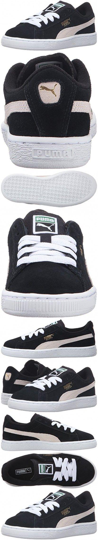 PUMA Suede PS Classic Kids Sneaker (Toddler/ Little Kid/ Big Kid), Black/ White, 2.5 M US Little Kid