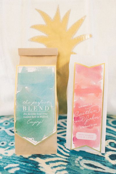 Coffee favors: http://www.stylemepretty.com/connecticut-weddings/stonington/2015/02/06/preppy-wedding-inspiration/ | Photography: Kat Harris - http://www.katharrisweddings.com/