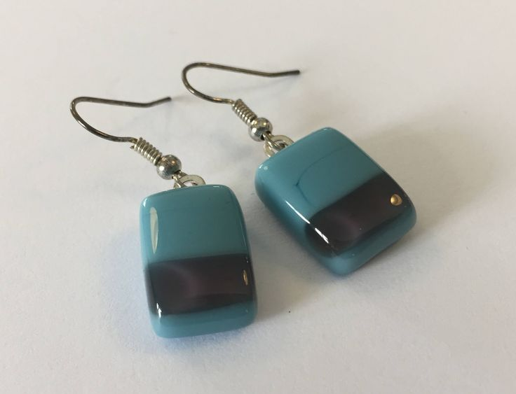 Contemporary square turquoise / grey fused glass earrings, opaque dangling glass earrings, modern danglers by Spallek Glass Art by SpalleksGlassArt on Etsy https://www.etsy.com/listing/522770782/contemporary-square-turquoise-grey-fused