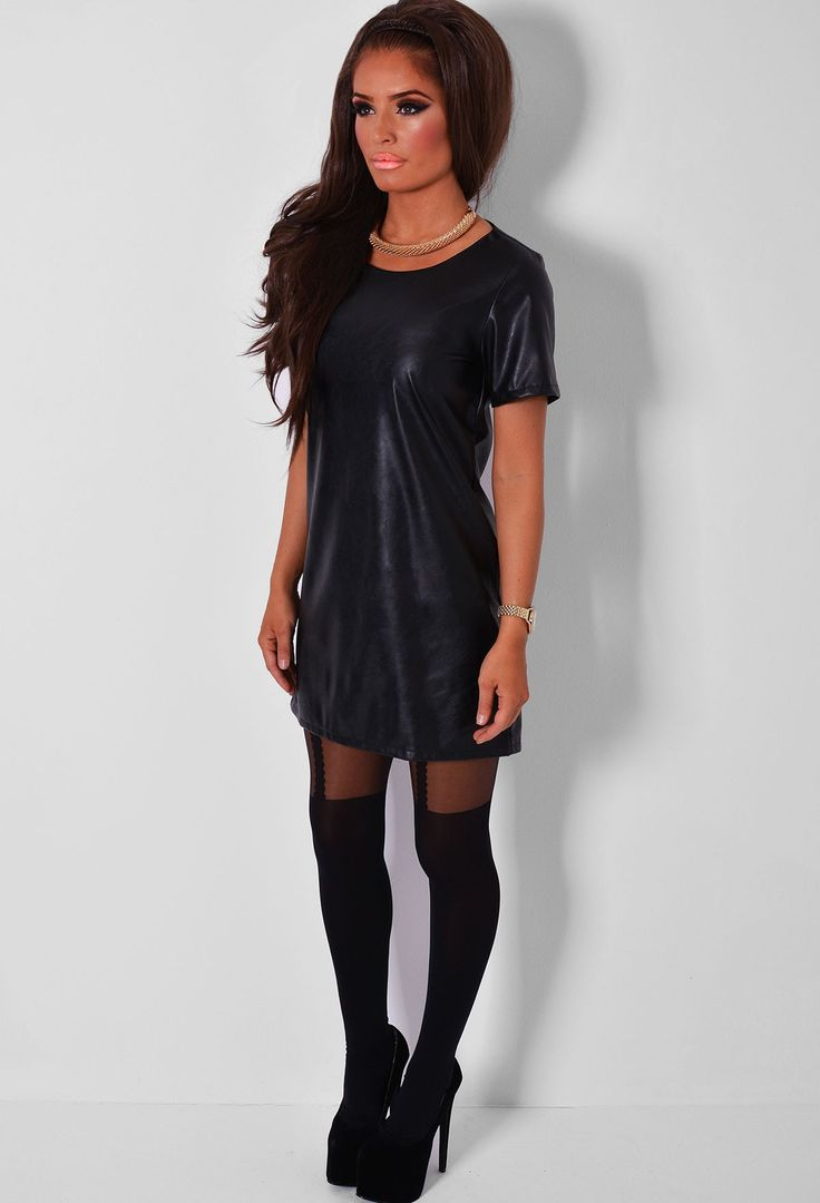 Aragon Black Leatherette Shift Dress