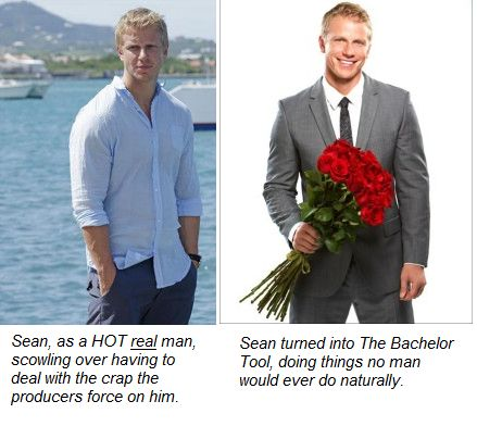 Hot Sean v Tool Sean  How The Bachelor Backfires by turning hot men into tools.  http://fromgrindtowhine.com/2013/02/20/how-the-bachelor-backfires/