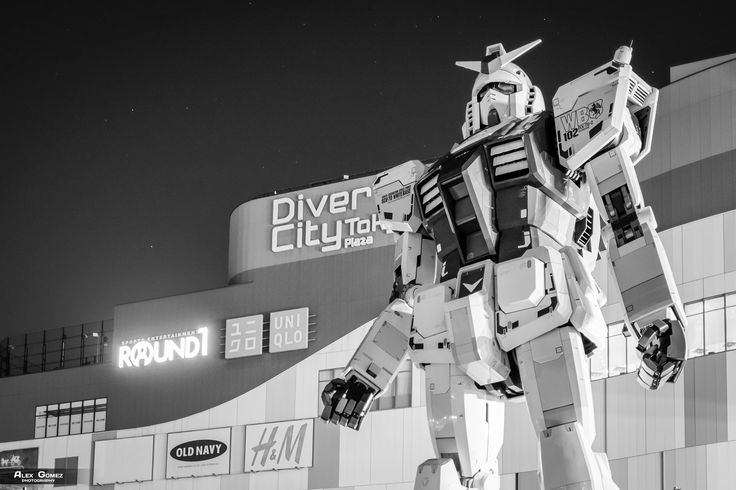 "GUNDAM RX-78-2 - A ""life sized"" Gundam statue stands in front of the building DiverCity."