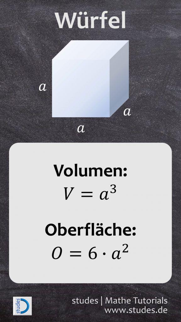 Würfel: Formeln für Volumen und Oberfläche   studes