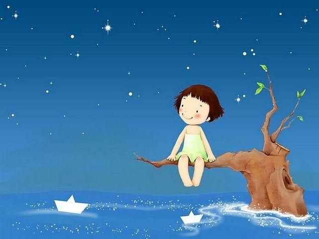 Girl, tree, paper boats, stars, night.