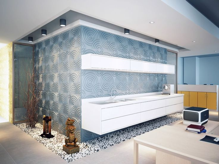 """Futuristic kitchen layout with """"Ripples"""". Note: 3D wall panels must be sealed before use in areas that experience a lot of moisture."""