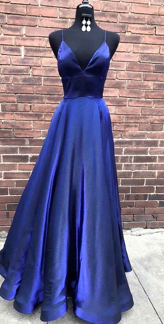 0acf878a8d Simple Elegant A Line V Neck Spaghetti Straps Navy Blue Long Prom Dress