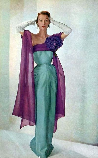 Sophie Malgat wearing Jeanne Paquin, 1951.  Photograph by Georges Saad for L'Art de la Mode.