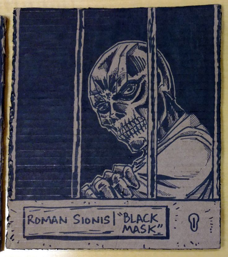 2017 DISPATCH HALLOWEEN Part 1: GOTHAM CITY! * Arkham Asylum Cell Door window: Roman Sionis, aka Black Mask! #arielsartwork #batman #villains #blackmask #romansionis #dc #dccomics #comics #halloween #cardboard #pencil #sketch #ink #sharpie #marker #art #illustration #drawing