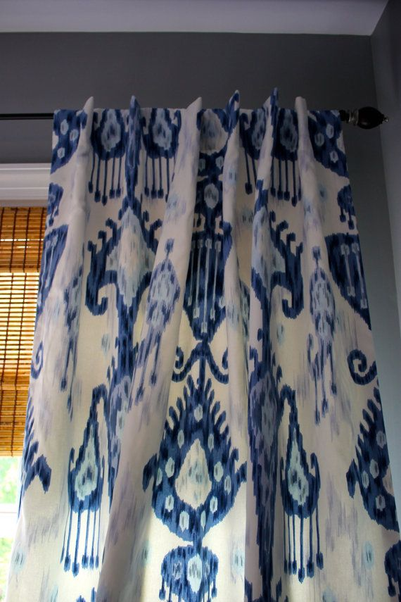 Blue And White Ikat Curtain Panel Custom Order For Five