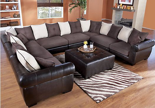 Shop for a Beckett Chocolate Mocha 8 Pc Sectional at Rooms To Go ...