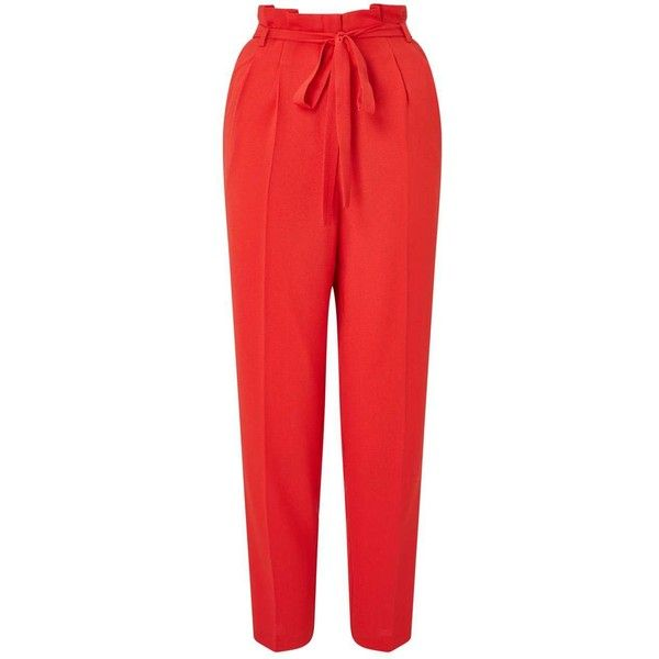 Miss Selfridge Red Paper Bag Trousers ($68) ❤ liked on Polyvore featuring pants, red, miss selfridge, red pants, red trousers and paper pants