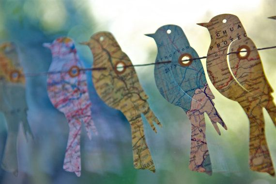 SALE Paper Garland, Birds of the World, Vintage Maps Garland, Wedding garland, Birthday Party Garland