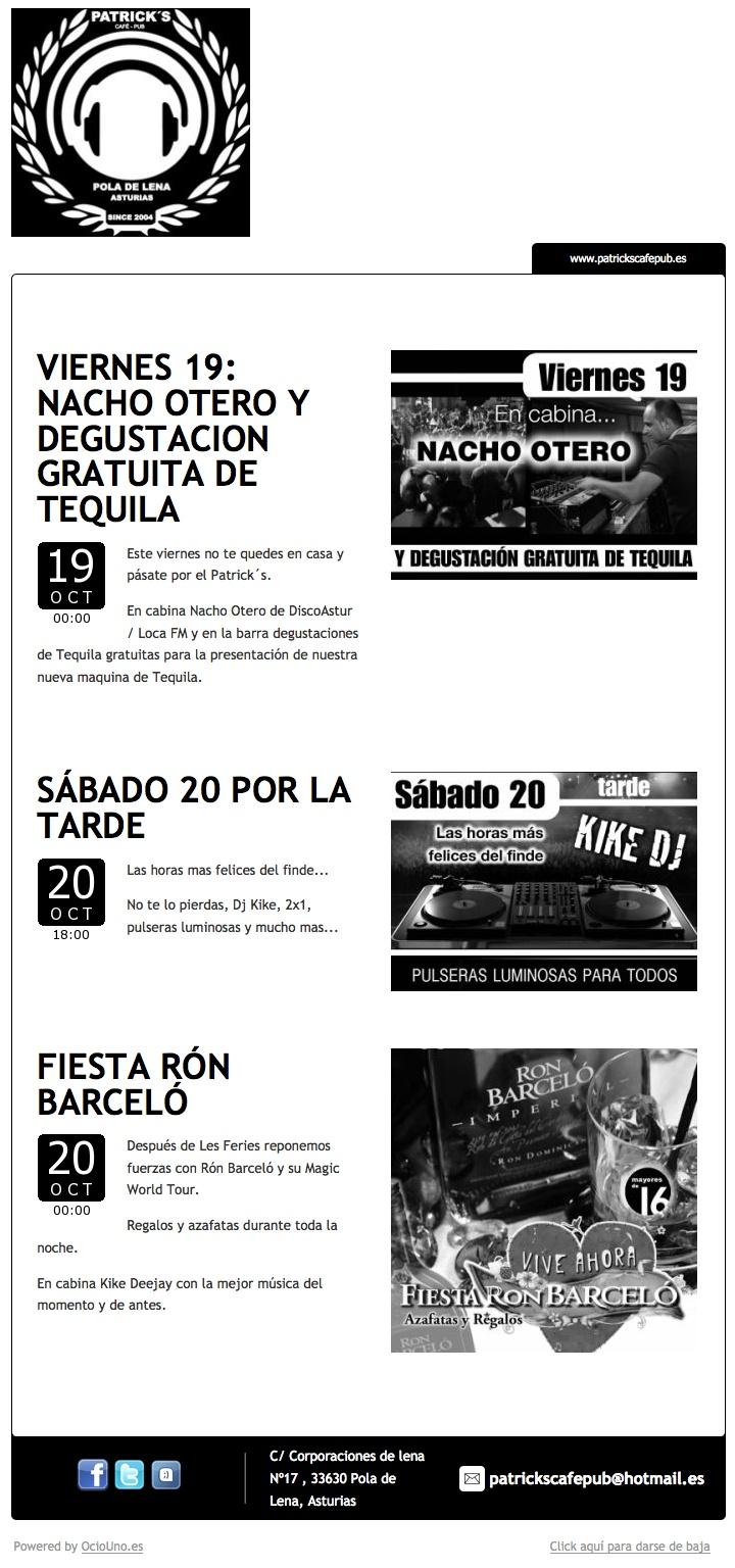 Patricks, Pola de Lena, Asturias, informa de sus fiestas del fin de semana mediante newsletter utilizando la plataforma tecnológica OcioUno.