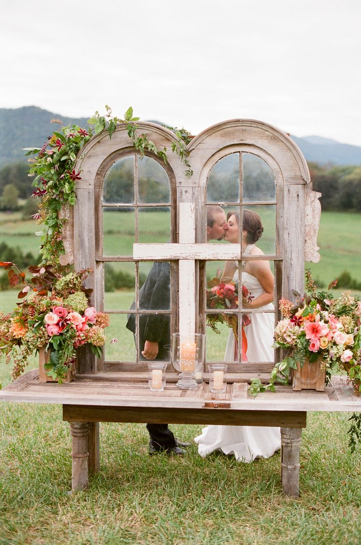 Outdoor Wedding Altar -- Very Romantic!   See the wedding from Jen Fariello on SMP: http://www.StyleMePretty.com/mid-atlantic-weddings/2014/03/18/outdoor-blue-ridge-mountains-fall-wedding/