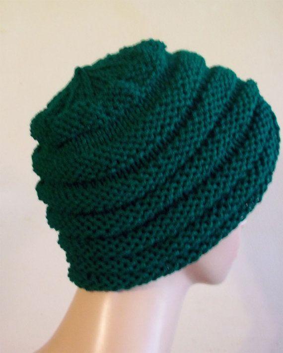 Knit Turban Hat Women Green by KnittingOleBag on Etsy