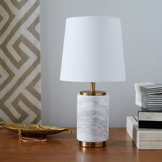 Small pillar table lamp marble west elm