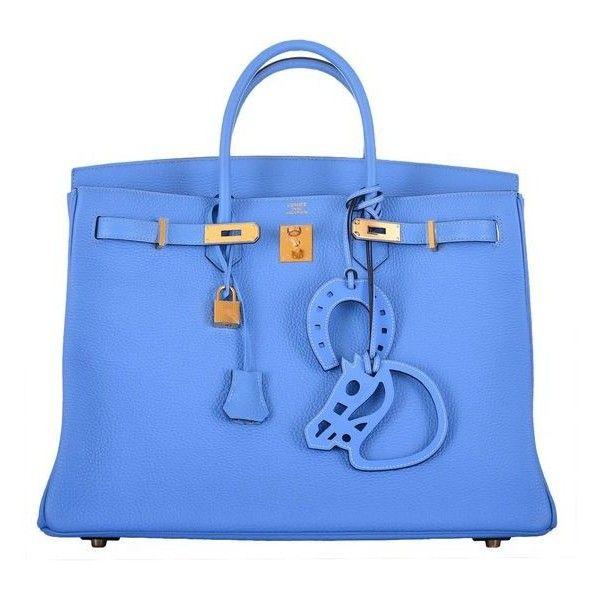 SIMPLY PARADISE! HERMES 40cm BIRKIN BAG BLUE PARADISE GOLD HARDWARE... ❤ liked on Polyvore featuring bags, handbags, top handle handbags, hermes purse, blue handbags, blue purse and hermes handbags