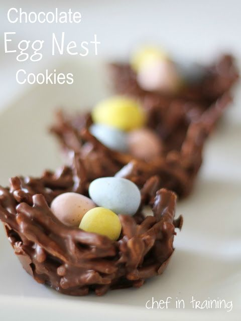 Easter treats. Use pretzel sticks, break. Melt chocolate. Mix together and put in shape of nest. Freeze to make solid. Put Cadbury eggs on top!