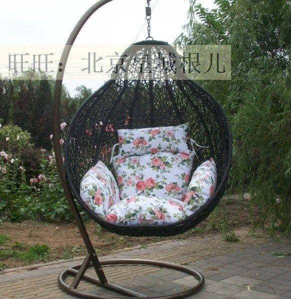 Bird Nest Rattan Hanging Chair Outdoor Swing Rocking Chair Outdoor Chair  Small Flower Cushion Bird Nest