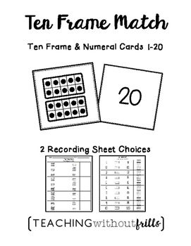 |Numbers 1-20| Ten Frames Matching Cards or Concentration