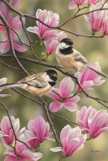 Springtime Chickadees Large Flag FlagTrends CLASSIC FLAGS by Carson